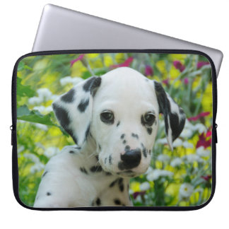 Cute black spotted Dalmatian Baby Dog Puppy Photo Computer Sleeve