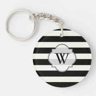 Cute black stripe pattern Double-Sided round acrylic keychain
