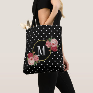 Cute Black Vintage Flowers Polka Dots Monogram Tote Bag