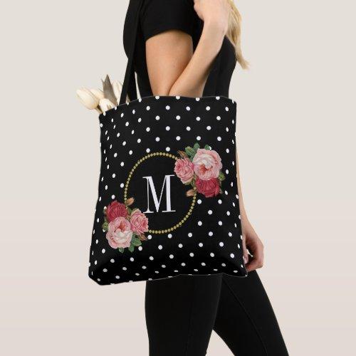 Cute Black Vintage Flowers Polka Dots Monogram Tote Bag