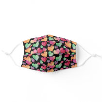 Cute Black Watercolor Colorful Heart Pattern Cloth Face Mask