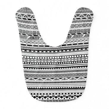 Aztec Themed Cute black white aztec patterns design bib