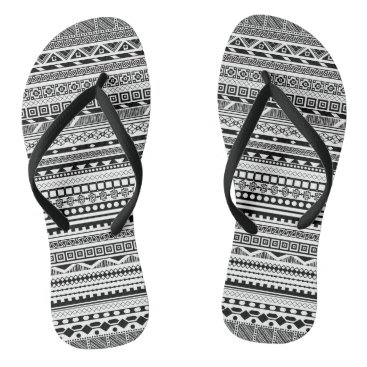 Aztec Themed Cute black white aztec patterns design flip flops