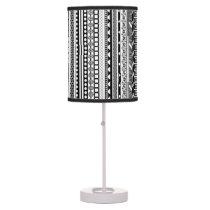 Cute black white aztec patterns design table lamp