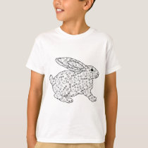 CUTE BLACK & WHITE BUNNY AND NAIVE FLORAL PATTERN T-Shirt