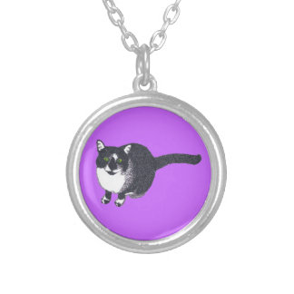 Cute Black White Cat in Pointillism Necklaces
