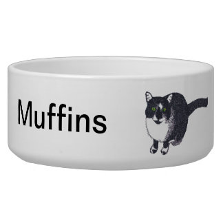 Cute Black White Cat in Pointillism Pet Bowl