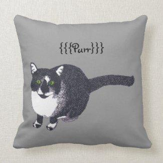 Cute Black White Cat in Pointillism Purr Pillows
