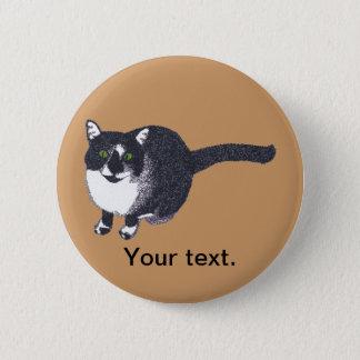 Cute Black White Cat Pointillism Your Text Buttons