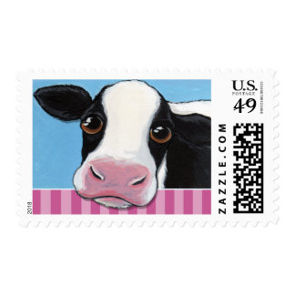 Cute Black & White Cow on Pink Stripe Postage Stamp