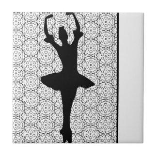 Cute Black & White Dancing Ballerina Tile