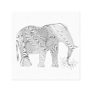 Cute Black & White Elephant Stretched Canvas Print