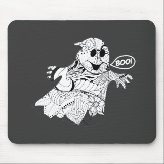 Cute black white floral ghost with boo Halloween Mouse Pad