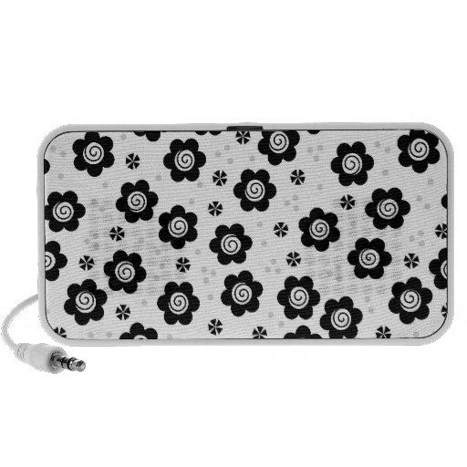 Cute black white flowers doodle speakers