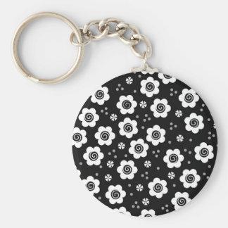 Cute black white flowers Keychain
