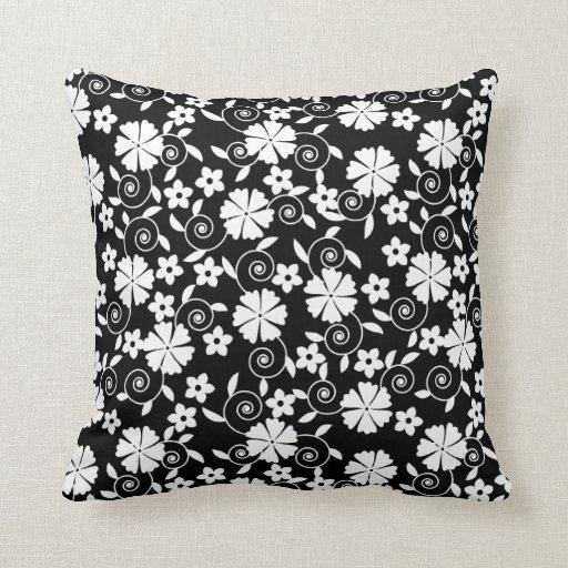 Cute Black White Flowers Patterns Throw Pillow Zazzle