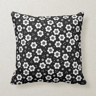Cute Black Pillows : Black And White Flower Pillows - Decorative & Throw Pillows Zazzle