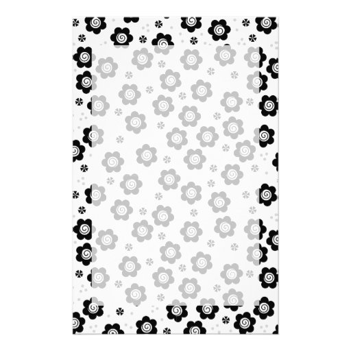 Cute black white flowers Stationery