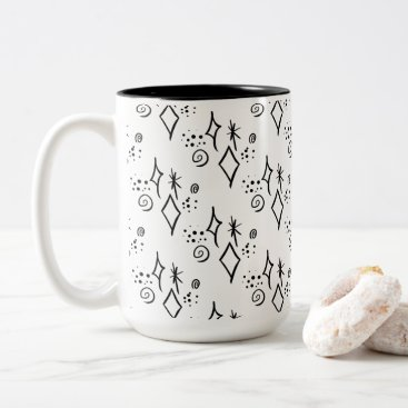 Halloween Themed Cute Black & White Galaxy Watercolor Coffee Mug