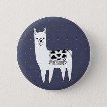 Cute Black & White Llama & White Dots Pinback Button