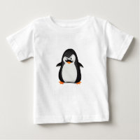Cute Black  White Penguin And  Funny Mustache Baby T-Shirt