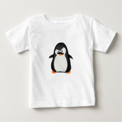Baby Fine Jersey T-Shirt with Cute Penguin with Mustache design