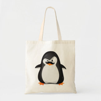 Cute Black  White Penguin And  Funny Mustache Budget Tote Bag