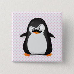 Square Button with Cute Penguin with Mustache design
