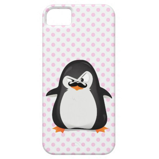 Cute Black  White Penguin And  Funny Mustache iPhone 5 Cover