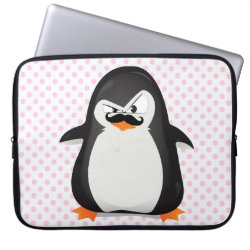 Neoprene Laptop Sleeve 15' with Cute Penguin with Mustache design