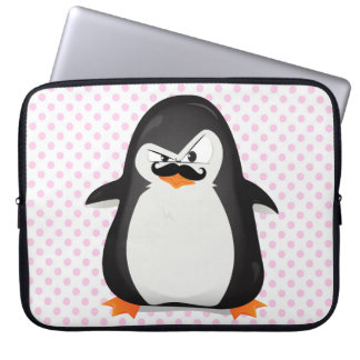 Cute Black  White Penguin And  Funny Mustache Computer Sleeve