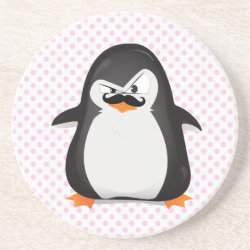 Sandstone Drink Coaster with Cute Penguin with Mustache design