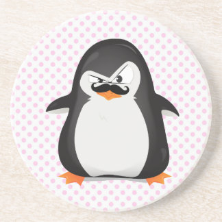 Cute Black  White Penguin And  Funny Mustache Drink Coaster