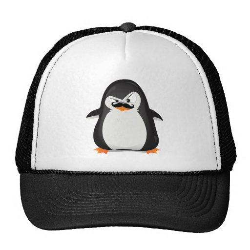 Cute Black  White Penguin And  Funny Mustache Trucker Hats