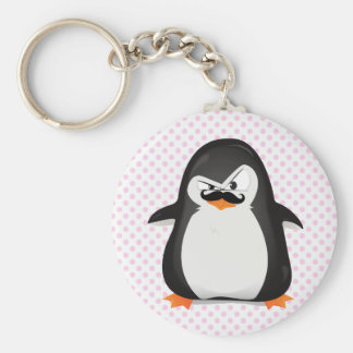 Cute Black  White Penguin And  Funny Mustache Basic Round Button Keychain