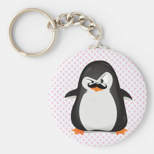 Cute Black  White Penguin And  Funny Mustache Keychain