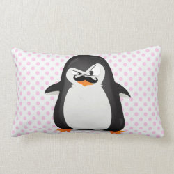 Throw Pillow Lumbar 13' x 21' with Cute Penguin with Mustache design