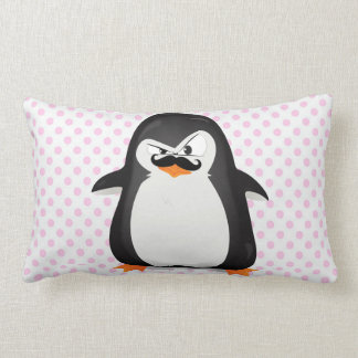 Cute Black  White Penguin And  Funny Mustache Lumbar Pillow
