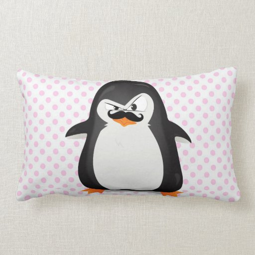 cute black white penguin and funny mustache lumbar pillow zazzle. Black Bedroom Furniture Sets. Home Design Ideas