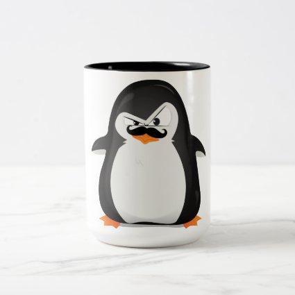 Cute Black White Penguin And Funny Mustache Coffee Mugs