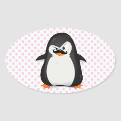 Oval Sticker with Cute Penguin with Mustache design