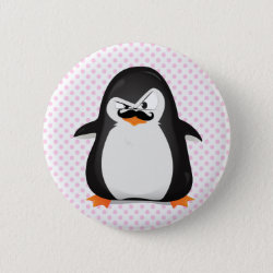 Round Button with Cute Penguin with Mustache design