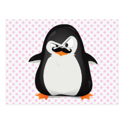 Postcard with Cute Penguin with Mustache design