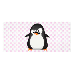4' x 9' Rack Card with Cute Penguin with Mustache design