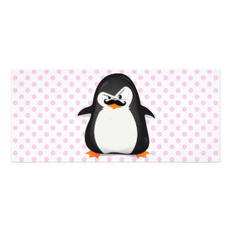 Cute Black  White Penguin And  Funny Mustache Rack Card