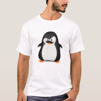 Cute Black  White Penguin And  Funny Mustache T-Shirt
