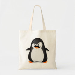 Budget Tote with Cute Penguin with Mustache design