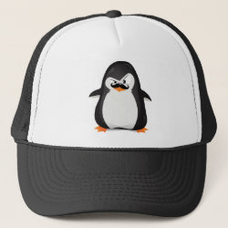 Trucker Hat with Cute Penguin with Mustache design