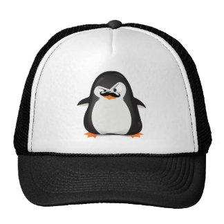 Cute Black  White Penguin And  Funny Mustache Trucker Hat