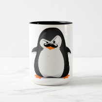 Cute Black  White Penguin And  Funny Mustache Two-Tone Coffee Mug